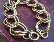 Vintage Starter Charm Bracelet Gold Double Link Chain Bracelet Large Spring Clasp Wide Statement Antique Gold Tone Mod 1960s Costume Jewelry