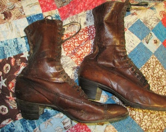 Antique VICTORIAN 1800 Women's Lace up BOOTS Brown Great Display