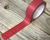 Washi Tape - 15mm - Merlot Red Damask on Dark Wine Red - Deco Paper Tape No. 794