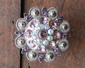 Crystal Drawer Knobs - Cabinet Knobs - Furniture Knobs with Pink, Purple and Iridescence Crystals (MK160)