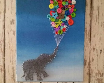 String Art of Elephant with Button balloons, Nursery, Litte Girl Wall Decor, Wild Zoo Animals, Ombre Blues, Let it Go, Baby Shower Gift