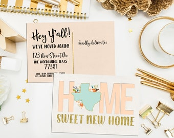 Texas Moving Announcement. We've Moved Card. Moving Card. Printable Moving Announcement. Texas State with flowers Moving Card. Custom State