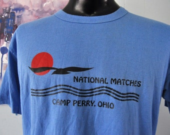 Vintage Camp Tee Camp Perry Ohio National Matches Sunset Birds Sailing Camping Nature Vintage Rainbow Design TShirt 80s Blue LARGE XL