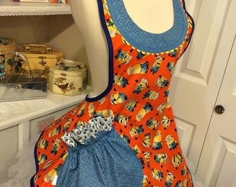 Minions inspired handmade woman's apron, full, Cosplay, costume party, comics, kitchen, over the head, pretty, orange