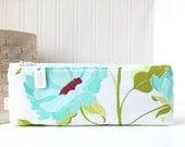 Aqua Blue Floral Pencil Case Floral Pencil Pouch Floral Purse Organizer