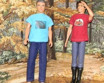 K3PC-13) Ken doll clothes, 1 pants and 2 printed T-shirts