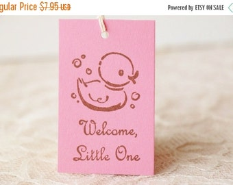 SALE Rubber Duck Tags Baby Shower Its a Girl Pink Gift Tags Favor Tags Set of 20