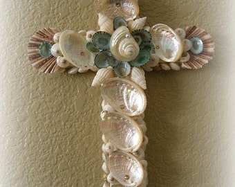 Sunset Beach Seashell Cross