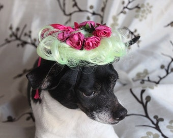 Pet   wig with flowers  for dog or cat