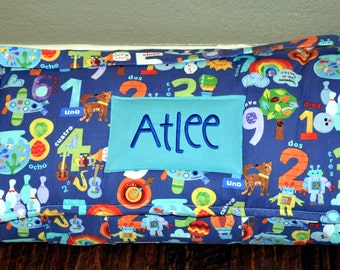 Nap Mat - Monogrammed Color & Count Numbers Nap Mat with a Turquoise Double-sided Minky or Minky Dot Blanket