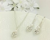 Bling Wedding Jewelry Set Sparkly Ball Bridal Necklace Earring Crystal Ball Pearl Sparkly Jewelry Flower Girl Jewelry Gift For Her Samantha