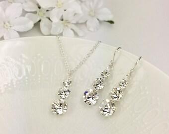 Back Drop Necklace Set Swarovski Crystal Back Drop Necklace Bridal Jewelry Demetria