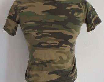 Camouflage T Shirt Vintage Small