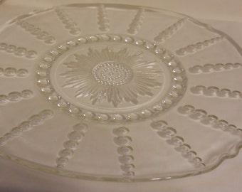 Glass Cake Plate Teardrop Tray Platter 1950s mid century