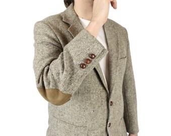 Vintage Elbow Patch Blazer 40S Wool Tweed Beige Professor Jacket Coat Danks Free US Shipping
