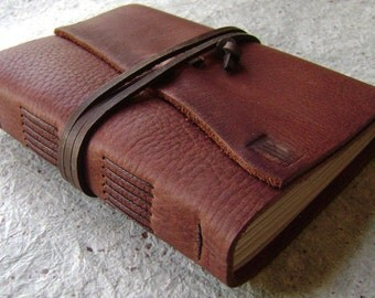"Leather journal, 4"" x 6"", rustic brown, handmade journal by Dancing Grey Studio(2040)"
