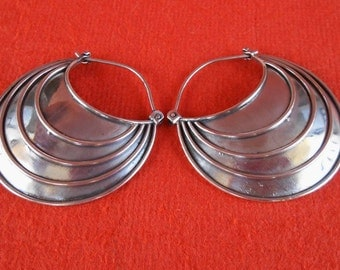 Large solid Silver sterling Hoop Earrings / 1.50 inch / silver 925 / Handmade Bali jewelry / (#719m)