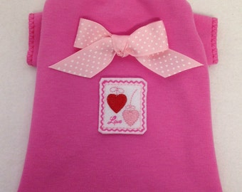Sending You All My Love Valentine's Day Dog T-Shirt Clothes Size XXXS-Medium by Doogie Couture