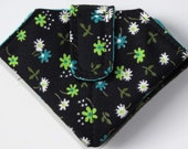 Folded Needle Case, Black with Turquoise Floral