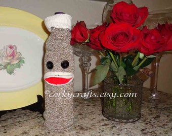 Sock monkey wine bottle bag/wine git wrap, bottle bag, wine sleeve/gift bag-