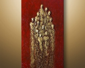 Abstract Painting Acrylic Original Modern Heavy Textured Painting 3D Art by Gabriela 48x24 Figures  Modern Abstract Painting red gold