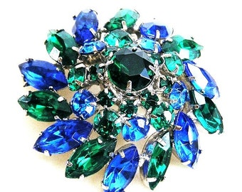 Blue and Green Domed Brooch Immaculate