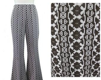 Printed Flare Pants / Aztec Print Flare Pants / 70s Tribal Flare Pants / Festival Print Pants / Vintage Festival Flare Pants / Boho Pants