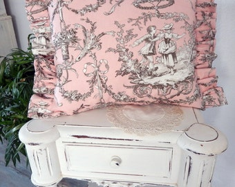 Parisian Fabric Toile de Jouy pink pillow romantic decor so brocante and shabby chic