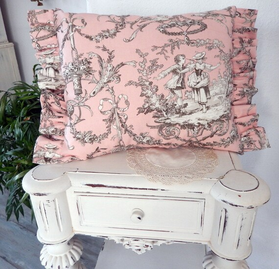 Parisian Fabric Toile de Jouy pink pillow romantic decor so