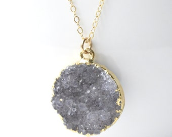 Druzy Necklace, Grey and Gold, RARE Druzy Agate Coin, Completely Natural Geode, Mineral Necklace, Gemstone Jewelry, Black Stone