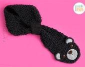 SALE - Handmade Black Bear Scarf - READY to SHIP for Preteen-Teen size