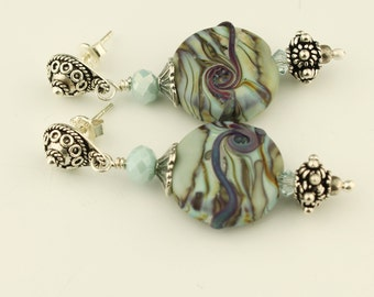 SRAJD Lampwork Beaded Earrings Sterling Silver Post Earrings-  Aqua, Purple 'Mystic Sea'