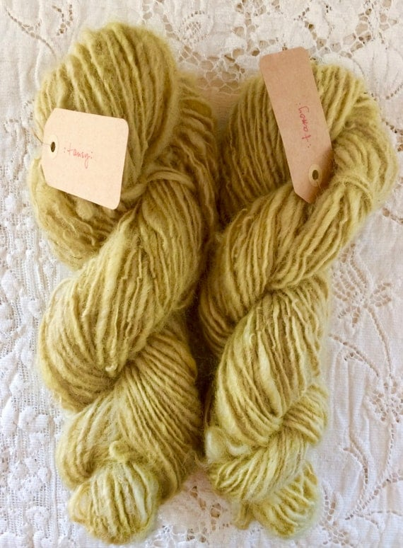 Yarn, Hand Spun, Plant Dyed, Maine Shetland Wool, Single Ply, Worsted Weight, Tansy