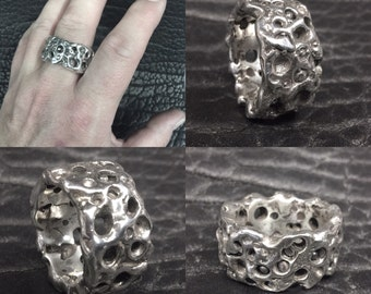 Sterling Silver Crater Ring size 12.6