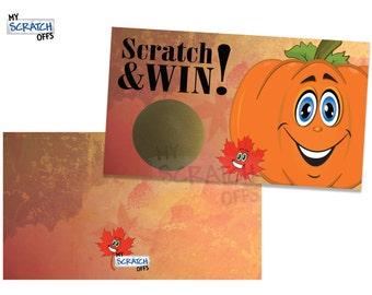 Fall Pumpkin Scratch Off Game Cards - Scratch & Win Game
