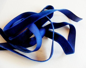 Vintage 1940's German Rayon Velvet Ribbon 5/8 Inch Royal Blue