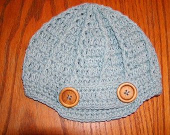 Antique Blue Beanie..with buttons size is Infant-Adult sizes.  Can be made in other colors