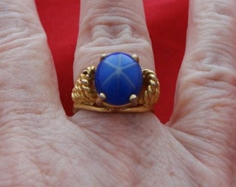 20% off sale Vintage new old stock 18K HGE size 6.5 gold tone ring with blue stone in unworn condition