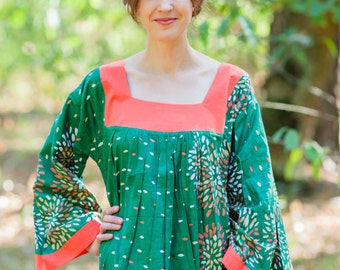 Fire Maiden Kaftan Style in Abstract Floral pattern in Green Color | Bohemian Caftan, Perfect for Loungewear, Beach Cover up