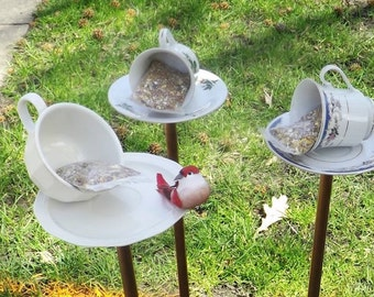 Upcycled Tea Cup Bird Feeder, Bird Bath, Garden, Yard Art, Tea Cup Saucer, Garden Decoration, Comes with starter pack of seed