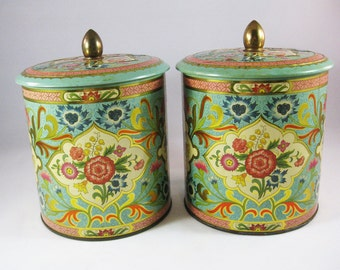 Ornate Floral Tins, Made in England