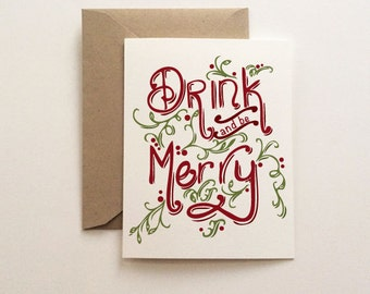Drink and be Merry Christmas Holiday Card