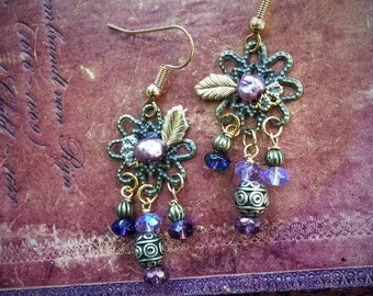 Purple and Gold Byzantine earrings