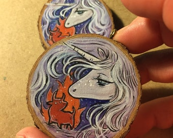 The Last Unicorn Hand Painted Wood (make to order)