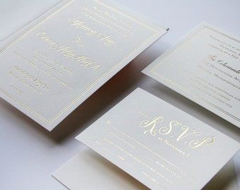 Custom Gold Foil Wedding Invitation Set  - Luster