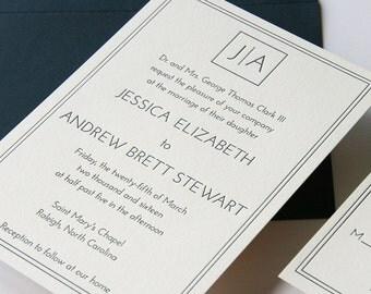Custom Letterpress Wedding Invitation Set  - Clark