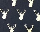 Navy Deer - Infant or Toddler Bib - REVERSIBLE plus ADJUSTABLE snaps