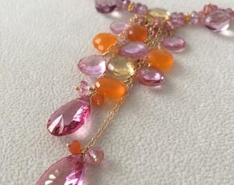 Semiprecious Gemstone Necklace in gold vermeil with Mystic Pink Topaz, Citrine, Orange Carnelian, Pink Sapphire and Mystic Pink Quartz