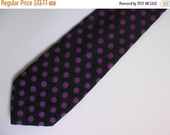 FLASH SALE Men 60s 70s purple polka dot mod tiki tie disco cocktail lounge polyester silkPlayboy Mad Men preppy