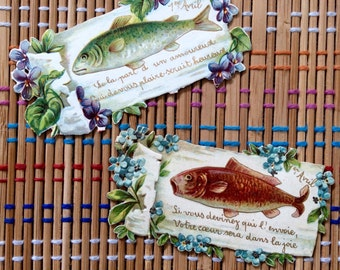 "Vintage French Paper Ephemera: April Fool's or ""Poissons D'Avril,"" R"